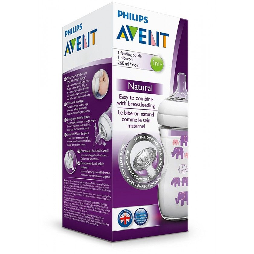 Philips Avent - Biberon Natural Elephant - Fille - 260 ml