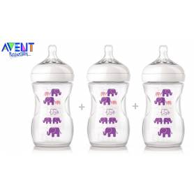 Philips Avent - Lot de 3 Biberons Natural Elephant - Violet - 260 ml