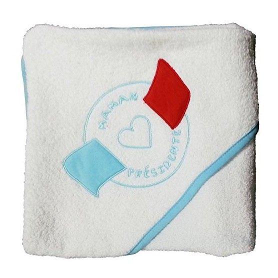 Mantella da bagno per neonato - Mamma Presidente ricamata - 80 x 80 cm