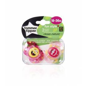 Tommee Tippee - Lot de 2 Sucettes Fun Style - 18/36 mois - Fille