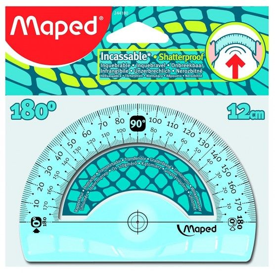 MAPED - Rapporteur 180° - Base 12 cm - Geometric