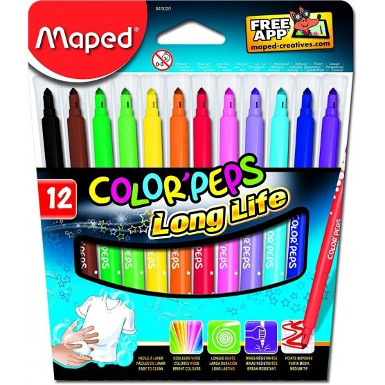 Maped - Etui de 12 Feutres Color'Peps Long Life