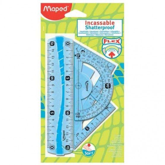 Maped - Mini Kit de Géométrie Incassable - 4 Pièces - 2 Modèles