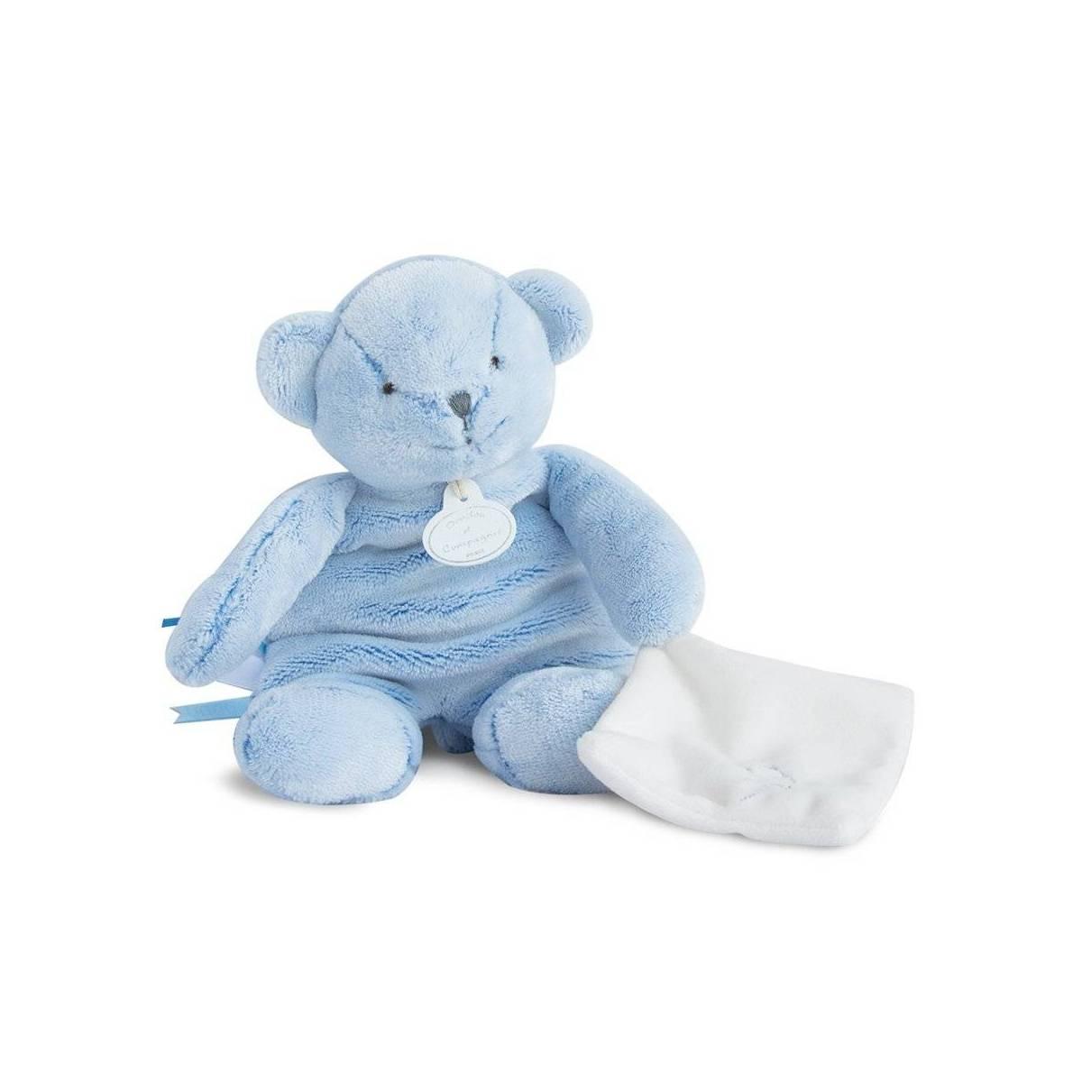 Doudou et Compagnie - J'Aime mon Doudou Pantin Ours Bleu avec Doudou - 25 cm