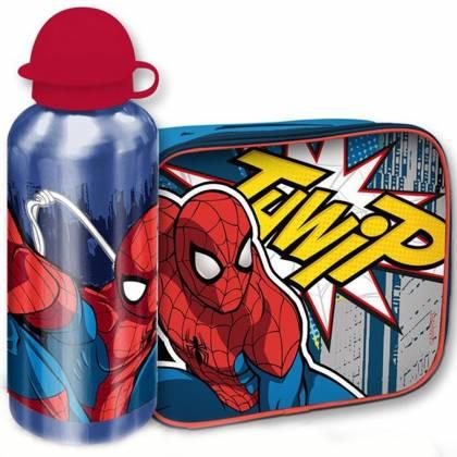 Spider Man - Sac Repas Isotherme + Gourde en Aluminium Enfant