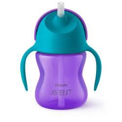 Philips Avent - Tasse à Paille Courbée Violet et Bleu - SCF796/02