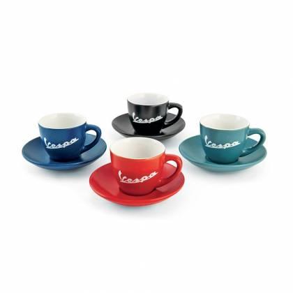 Vespa - Set de 4 Tasses à Café Matte + Soucoupes