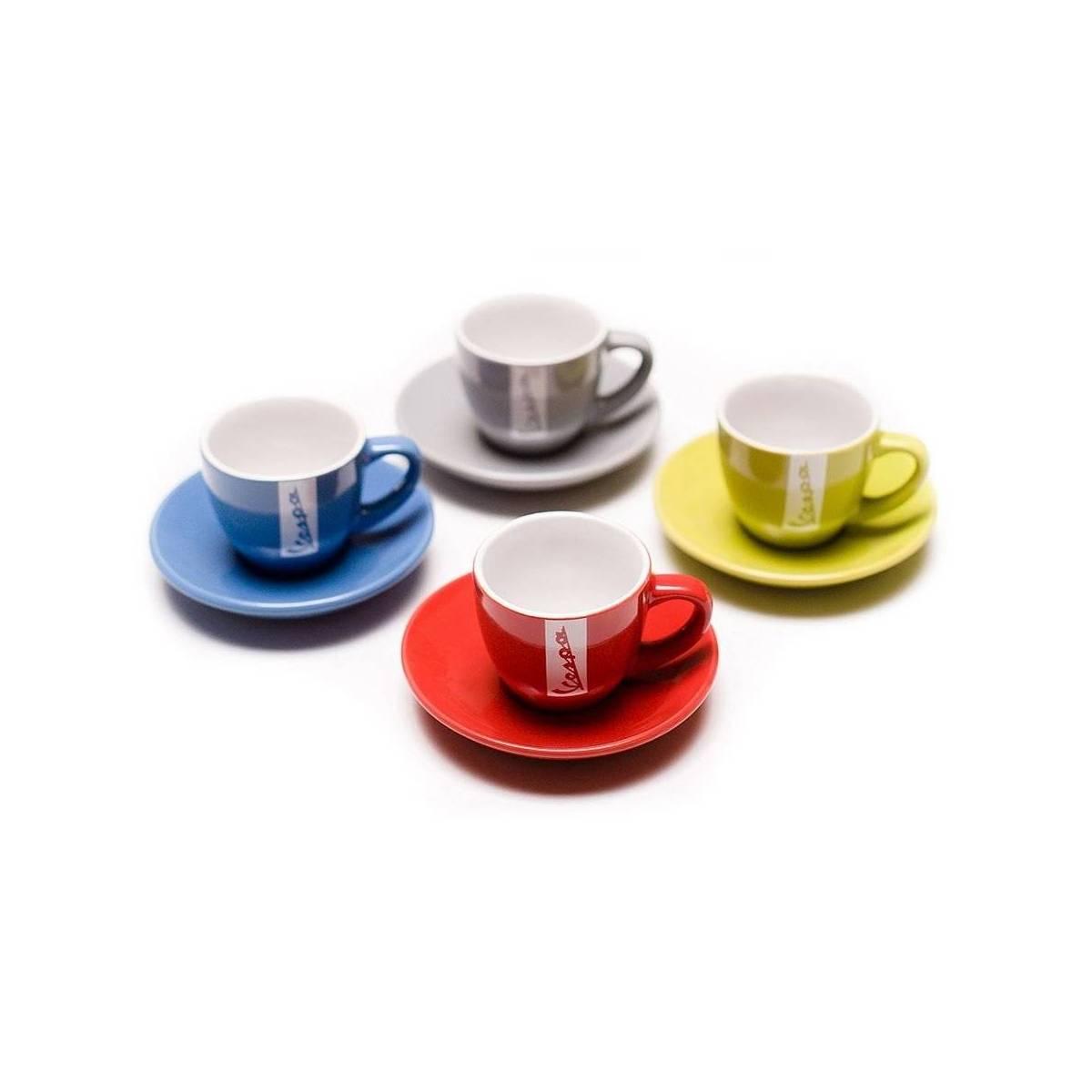 Vespa - Set de 4 Tasses à Café + Soucoupes