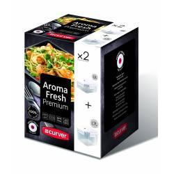 Curver - Aroma Fresh Premium - Lot de 2 Boîtes Carrés - 1.1 L et 1.7 L