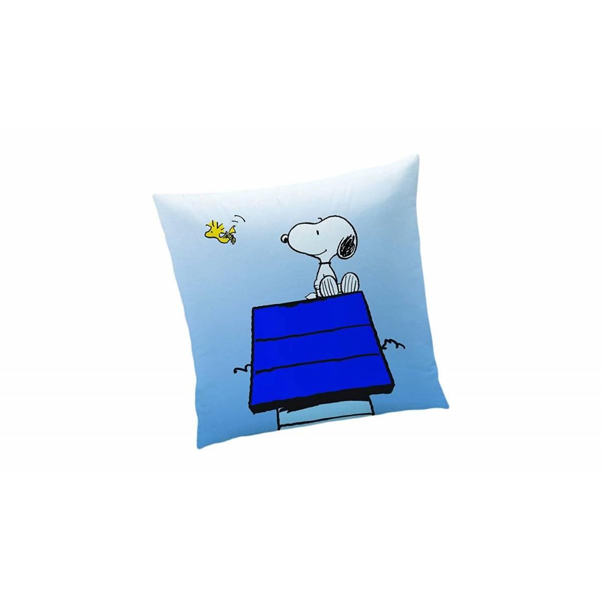 Snoopy - Coussin Coton Bleu - Wake Up - 40 x 40 cm