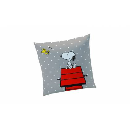 Snoopy - Coussin Coton Gris - Classic Red - 40 x 40 cm