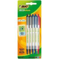 BIC - Lot de 5 Stylo Bille Rétractable - Noir/Bleu/Rouge