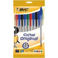 BIC - Lot de 10 Stylos à Bille Cristal - Multicolore