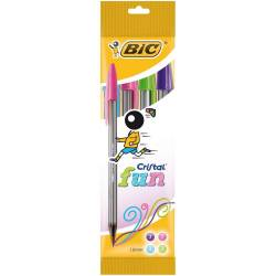 BIC - Lot de 4 Stylos Bille Fun Cristal Large - Assorti Fantaisie