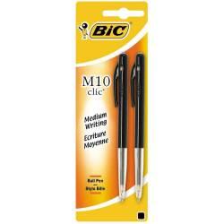 BIC - Lot de 2 Stylos Bille M10 Clic - Noir