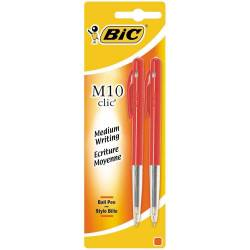 BIC - Lot de 2 Stylos Bille M10 Clic - Rouge