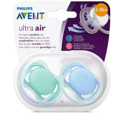Philips Avent - Lot de 2 Sucettes Ultra AIR - 6/18 mois - Bleu