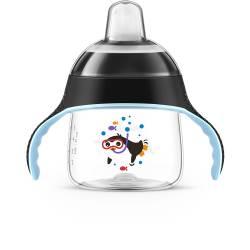 Philips Avent - Tasse à Bec avec anse Noir Pingouin - 200 ml - 6 mois +