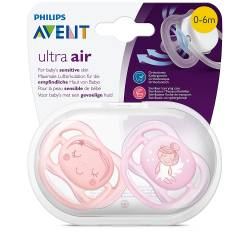 Philips Avent - Lot de 2 Sucettes Ultra AIR - Fille Rose - 0-6 mois