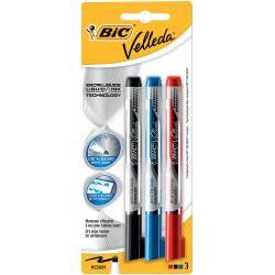 BIC - Lot de 3 Feutres Velleda - Noir, Rouge et Bleu