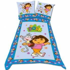 Dora l'exploratrice parure de lit housse de couette 140 x 200 + taie Dora Flower