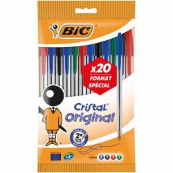 BIC - Lot de 20 Stylos Bille Cristal - Multicolore