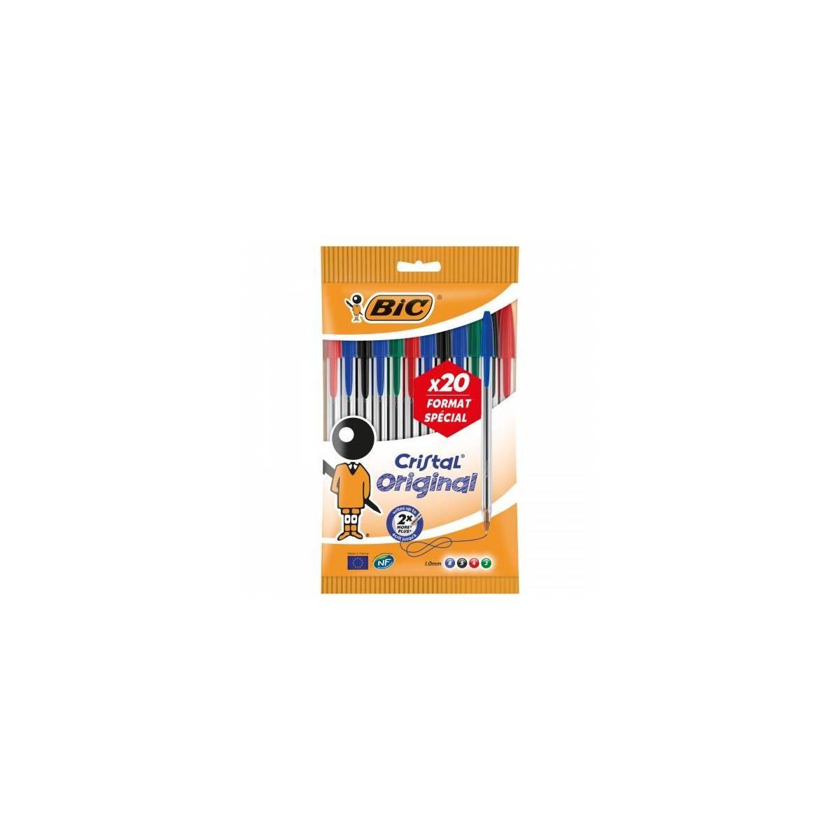BIC - Lot de 20 Stylos Bille Cristal - Multicolore