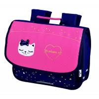 Oberthur - Cartable Chaton Miaou 35 cm - Marine et Rose
