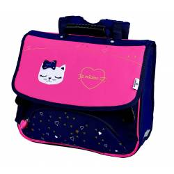 Cartable Oberthur Chaton Miaou 38 cm - Marine et Rose