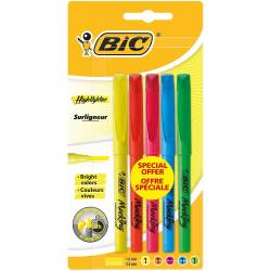 BIC - Lot de 5 Surligneurs Highlighter - Assortis