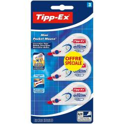 BIC - Lot de 3 Correcteurs Tipp-Ex Mini Pocket Mouse