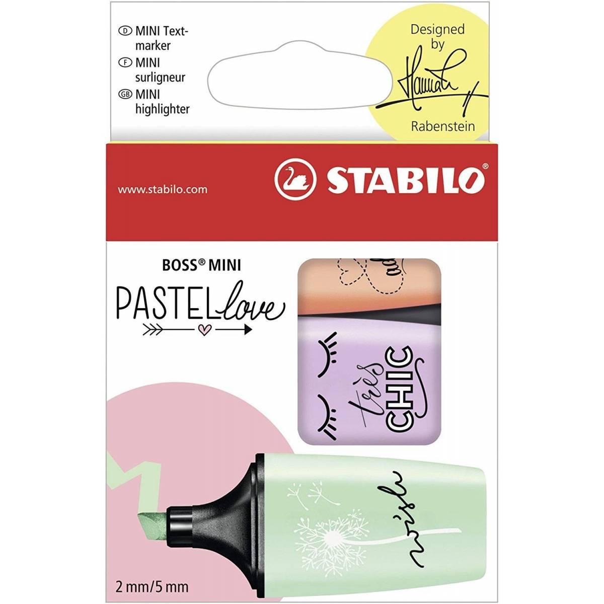 STABILO BOSS MINI - Lot de 3 Mini Surligneurs - Pastel Love