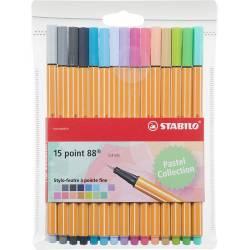 STABILO POINT 88 - Etui de 15 Stylos Feutres - Pastel
