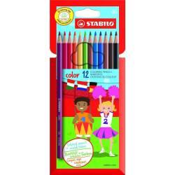 STABILO COLOR - Etui de 12 Crayons de Couleurs Vives