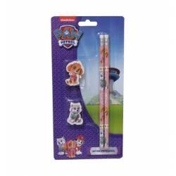 Pat Patrouille - Set de 2 Crayons à Papier + 2 Gommes - Fille