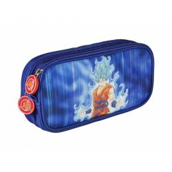 Dragon Ball Super - Trousse Rectangulaire 2 Compartiments Goku Bleu - 22 x 6 x 10 cm