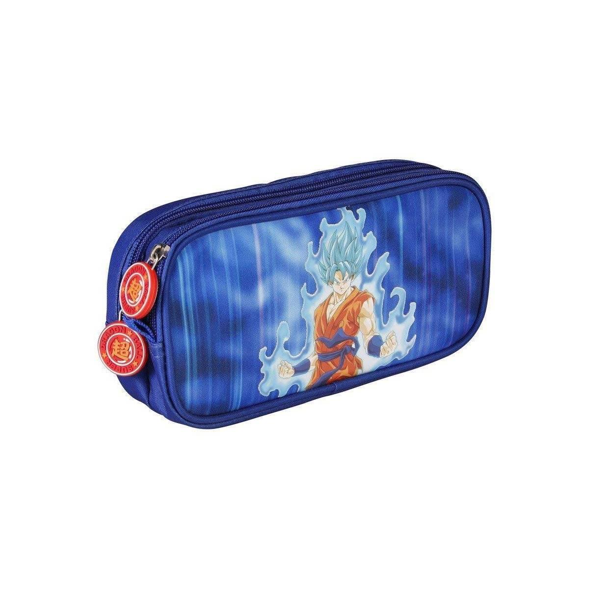 Dragon Ball - Trousse Rectangulaire 2 Compartiments Goku Bleu - 22 x 6 x 10 cm