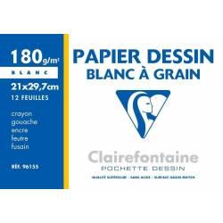 Clairefontain - Pochette Dessin à Grain - 12 Feuilles - 180g - 21 x 29.7 cm