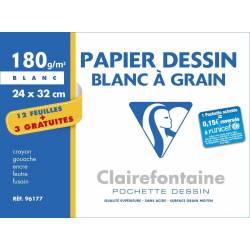 Clairefontaine - Pochette Dessin à Grain - 12 Feuilles + 3 GRATUITES - 180 g - 24 x 32 cm