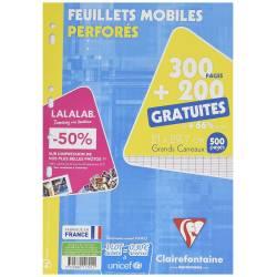 Clairefontaine - Paquet de 500 Feuillets Mobiles Perforés sous Etui Protecteur Cartonné - 21 x 29.7 cm