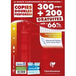 Clairefontaine - Paquet de 500 Copies Doubles Perforées sous Etui Protecteur Cartonné - 21 x 29.7 cm