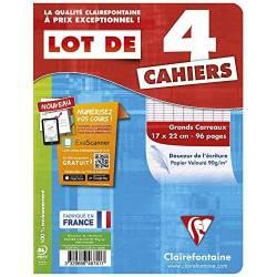 Clairefontaine - Lot de 4 Cahiers Piqué - Grands Carreaux - 96 Pages - 17 x 22 cm