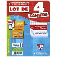 Clairefontaine - Lot de 4 Cahiers Piqué - Grands Carreaux - 96 Pages - 17 x 22 cm