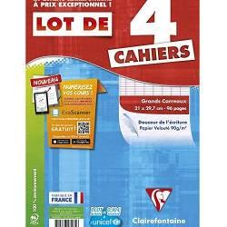 Clairefontaine - Lot de 4 Cahiers Piqué - Grand Carreaux - 96 Pages - 21 x 29.7 cm