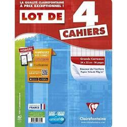 Clairefontaine - Lot de 4 Cahiers Piqué - Grands Carreaux - 96 Pages - 24 x 32 cm