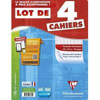 Clairefontaine - Lot de 4 Cahiers Piqué - Grands Carreaux - 96 Pages - 24 x 32 cm