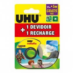 UHU Rollafix Ruban adhesif Invisible avec devidoir