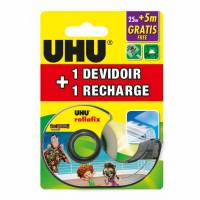 UHU Rollafix Ruban adhesif Invisible 25 m + 5m Gratis