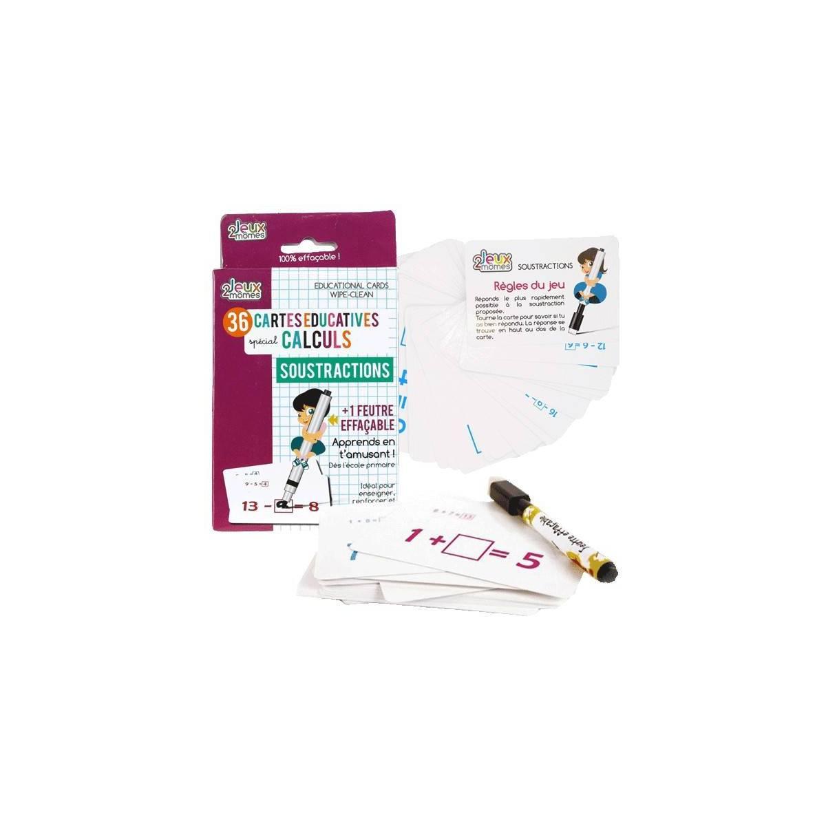 36 Cartes Educatives Spéciales Calculs + 1 Feutres Effaçable