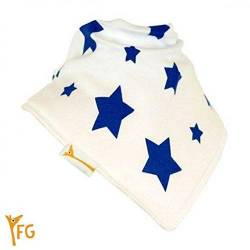 Funky Giraffe - Bavoir Bandana Blanc Etoile Bleu